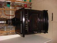 Cast iron multifuel Mulberry Beckett enamel 24 kw boiler stove & flue