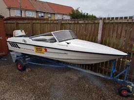 Fletcher Arrowsprint 129 speedboat and trailer. Great boat.