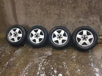 Full Set of 4 VW Golf Alloy Wheels with Tyres, tyres are 195/65r15 and 205/65r 15 inch