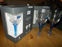 Denby 'Imperial Blue' red wine glasses x 4