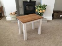 Handmade coffee table. Solid oak top and painted legs. 40cm W x 28.5cm D x 42cm H