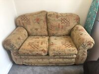 Two Seater Yellow Fabric Sofa.