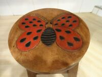 CHILD'S STOOL - HAND PAINTED - HAND CARVED - BUTTERFLY -