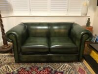 Chesterfield Sofa 1930's Style 2 Seater Genuine Leather & Nearly New