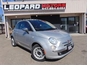 2012 Fiat 500 Lounge,MAUAL,LEATHER,ROOF,BT,NO ACCIDENT