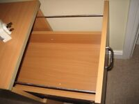 Sturdy 2 drawer wooden filing cabinet with file hanging rails. Good condition