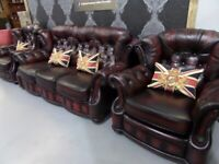Refurbished Winchester Chesterfield 3 Seater Sofa & 2 Chairs in Oxblood Leather - UK Delivery