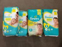 Pampers nappies size 1 & 2
