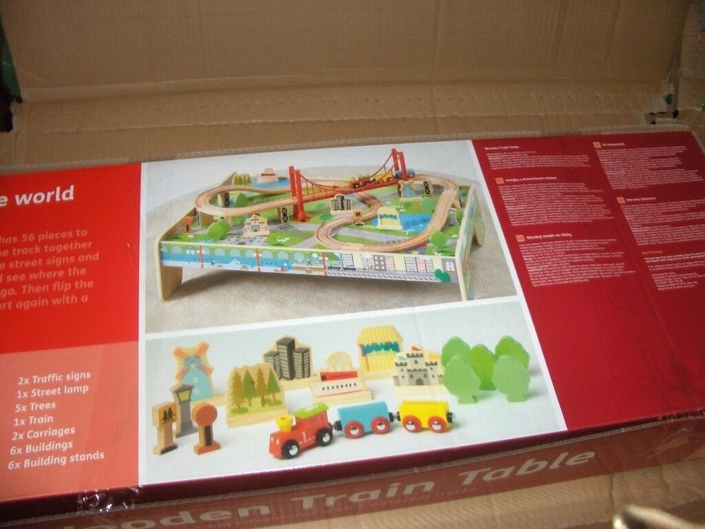 Carousel Wooden Train Table With 56 Piece Train Set Brand New In Box In Caerau Cardiff Gumtree