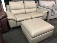 NEW - EX DISPLAY LAZYBOY GREY LEATHER REMANO ELECTRIC RECLINER SOFA + FOOTSTOOL 70%Off RRP SOFA