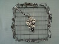 FRENCH SILVER PLATED SERVIETTE HOLDER WITH VINE LEAVES AND GRAPE DECORATIION