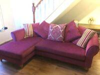DFS 'Elin' Pillow Back Corner Sofa in Pink