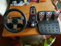 Logitec G27 wheel and pedals