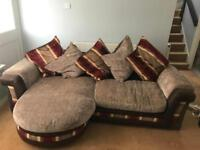 Couch and Swivel Cuddle Chair