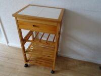 pine tiled top kitchen island - kitchen work station on wheels
