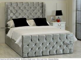 💗💥💗SAME DAY DELIVERY💗💥💗PREMIUM QUALITY DOUBLE CRUSHED VELVET UPHOLSTERED WINGBACK OXFORD BED