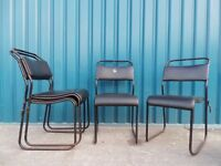 4 x Beautiful 70's Vintage Industrial Stacking Stackable School Cafe Bar Chairs