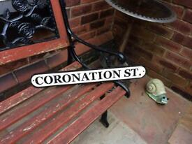 Coronation street sign vintage cast iron