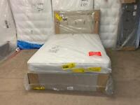 New double Silentnight sandstone bed base and headboard with airsprung double mattress