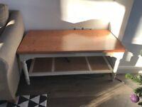 Cream & wood coffee table