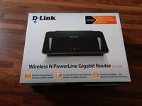 BRAND NEW! D-Link DHP-1565 Wireless N Gigabit Router with AV500 PowerLine adaptor built in!