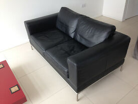 Black leather sofa - excellent condition