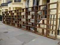 Bespoke home office pigeon holes bookcases industrial rustic zoom background reclaimed wood gplanera