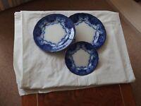 Antique, F & Sons, Burslem Dinner set 24 pieces flow Blue Pottery British