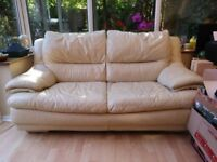 Leather sofa cream leather 2 seater non smoking pet free home.