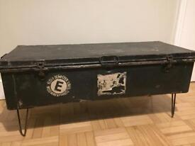 Vintage Industrial Style Coffee Table/Trunk. 108cm L x 42cm W x 47cm H. I can deliver locally