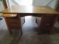 Large Vintage Twin Pedestal Oak Desk