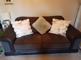2 and 3 seater black sofa