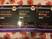 Set of GCSE AQA 9-1 CGP Revision & Practise Books: Biology, Chemistry & Physics