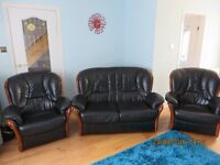 Black leather 3 piece suite for sale - Excellent condition