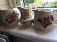 Three shabby chic vintage milk jugs (wedding )