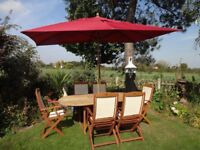 LARGE GARDEN FURNITURE SET - EXTENDING TABLE AND 6 CHAIRS + PARASOL & BASE