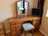 Solid Honey Pine Bedroom Furniture, Dressing Table (Desk), Mirror & Bedside Cabinet