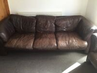 Brown leather three seater sofa & armchair. Collection only