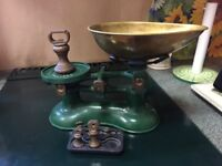 Traditional Cast Iron enamelled Victor scales and cook book rest