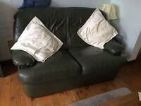 Green leather 2 seater settee