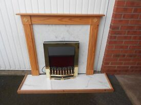 electric fire and pine surround and hearth