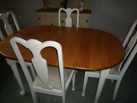 DINING TABLE AND 4 CHAIRS SHABBY CHIC PAINTED LEGS AND CHAIRS SOLID NATURAL OAK TOP