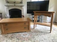 Frank Hudson light oak coffee and console table