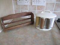 Leifheit Revolving Magnetic Spice Herb Jars Holder Rack Set and teak spice rack