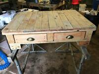 Reclaimed wood coffee table with 4 drawers