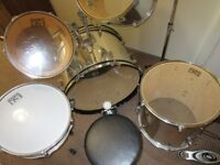 DRUM SET 10 PIECE SESSION PRO SILVER FULL DRUM KIT/ 5x drum 2 symbols/ stool/2 press pedals