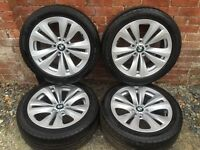 "Genuine BMW 18"" set of 4 alloys and Run flat tyres"