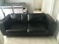 Black 100% leather 3 seater sofa