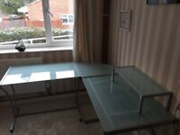 Fantastic glass corner desk for sale !