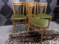 Vintage 4 x Kitchen Dining Chairs Green Seat